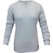 National Safety Apparel® Women's Classic Cotton FR Long Sleeve T-Shirt, 3XL, Gray, C54PGLSW3XL