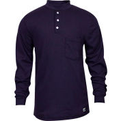 National Safety Apparel® Flame Resistant Classic Cotton Henley, M, Navy, C54PIBSLSMD