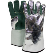 CARBON ARMOUR™ Aluminized Leather Glove, Green, Rayon Back, Regular, DJXG395