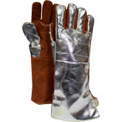 "CARBON ARMOUR™ 16-1/2"" Thermal Leather Glove Snap Adjustment, Aluminized/Brown, DJXG705165XL"
