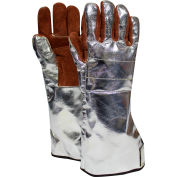 CARBON ARMOUR™ Thermal Leather Glove, Hook & Loop, Rayon Back, Alum/Brown, L, DJXGAR1705SPEC2