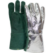 CARBON ARMOUR™ Aluminized Leather Glove, Rayon Back, Aluminized/Green, Large, G51MLLW00214