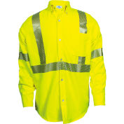 VIZABLE® FR Hi-Vis Work Shirt, Type R, Class 3, XL, Fluorescent Yellow, SHRTV3C3XLLRG
