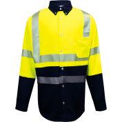 VIZABLE® FR Hybrid Work Shirt ANSI Class 3, S, Fluorescent Yellow/Navy, SHRTV3C3YNSMRG