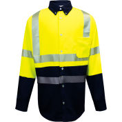 VIZABLE® FR Hybrid Work Shirt, ANSI Class 3, XL, Fluorescent Yellow/Navy, SHRTV3C3YNXLRG