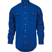TECGEN Select® Flame Resistant Work Shirt, 4X, Royal Blue, TCG01130231