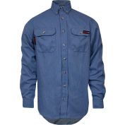 TECGEN Select® Flame Resistant Work Shirt, 5X, Light Blue, TCG01190234