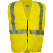 VIZABLE® FR Standard Hi-Vis Mesh Safety Vest, Zipper, ANSI Class 2, Type R, 2XL, Yellow
