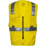 VIZABLE® Flame Resistant Deluxe Hi-Vis Zip Safety Vest, ANSI Class 2, Type R, S, Yellow