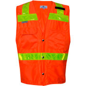 VIZABLE® Hi-Vis Deluxe Road Vest, ANSI Class 2, Type R, 3XL, Orange