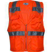 VIZABLE® Hi-Vis Deluxe Micro Mesh Road Vest, ANSI Class 2, Type R, S, Orange
