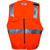 VIZABLE® Flame Resistant Hi-Vis Deluxe Road Vest, ANSI Class 2 Level 2, 2XL, Orange