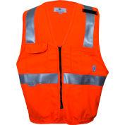VIZABLE® Flame Resistant Hi-Vis Deluxe Road Vest, ANSI Class 2 Level 2, 2XL, Orange