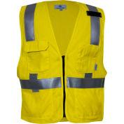 VIZABLE® Flame Resistant Hi-Vis Deluxe Road Vest, ANSI Class 2, Type R, XL, Yellow