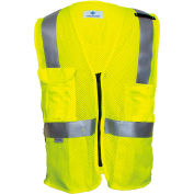 VIZABLE® Flame Resistant Deluxe Anti-Static Hi-Vis Mesh Vest, ANSI Class 2, Type R, M, Yellow