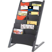 Paperflow 7-Compartment Multi-Sizes Floor Literature Display Charcoal