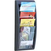 Paperflow Letter Size 4-Pocket Quick Fit Systems Literature Display  Charcoal