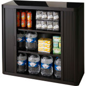 """Paperflow Plastic EasyOffice Storage Cabinet EE000006 - 41""""H  with Two Shelves, Black"""