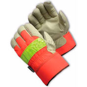 PIP Hi-Visibility Leather Gloves, Insulated W/3M® Thinsulate™, Rubberized Safety, L