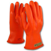 """PIP Electrical Rated Gloves, 11""""L, Unlined, Smooth Finish, Beaded, Orange, Class 00, Size 9"""