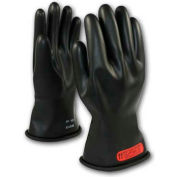 "PIP Electrical Rated Gloves, Black, 11"", Unlined, Smooth Finish, Beaded, Class 0, 9"
