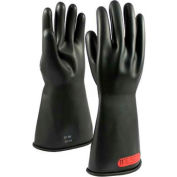 "PIP Electrical Rated Gloves, Black, 14"", Unlined, Smooth Finish, Beaded, Class 0, 9"
