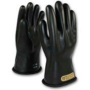 """PIP Electrical Rated Gloves, 11""""L, Unlined, Smooth Finish, Beaded, Black, Class 00, Size 10"""