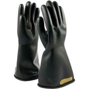 """PIP Electrical Rated Gloves, Black, 14"""", Unlined, Smooth Finish, Beaded, Class 00, Size 9"""