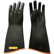 """PIP Electrical Rated Gloves, Class 2, Black Over Orange, 18"""", Unlined, Size 9"""