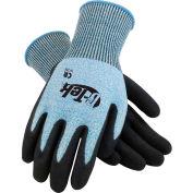 PIP G-Tek® CR Nitrile Grip Gloves W/ Blue/White HPPE Liner, Black Palm, S, 1 DZ