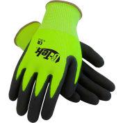 PIP G-Tek® CR Hi-Vis Lime Green Nitrile Grip Gloves W/ HPPE/Glass Liner, Black Palm, S, 1 DZ