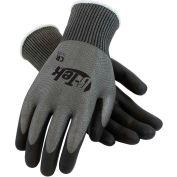 PIP G-Tek® CR Polyurethane Gray Grip Gloves W/ HPPE/Glass Liner, Black Palm/Fingers, XS, 1 DZ
