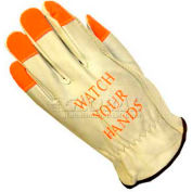 PIP Top Grain Cowhide Drivers Gloves, Keystone Thumb, Quality Grade Hi-Vis Finger, L
