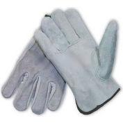 PIP Split Cowhide Drivers Gloves, Premium Grade, Keystone Thumb, Gray, S