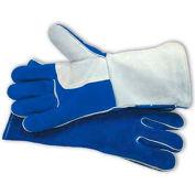 PIP Welder's Gloves, Side Split W/Cotton Foam Lining, Blue & Gray, L