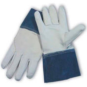 "PIP Mig Tig Welder's Gloves, Top Grain Goatskin, Wing Thumb, 4""Length, Leather, S"