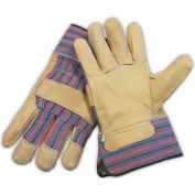 PIP Top Grain Cowhide Leather Palm Gloves, Regular Grade, Safety Cuff, L