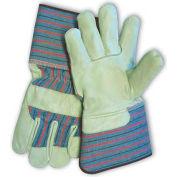 PIP Top Grain Cowhide Leather Palm Gloves, Regular Grade, Gauntlet Cuff, M