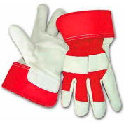 PIP Top Grain Goatskin Leather Palm Gloves, Premium Grade, Gunn Pattern, Red, L