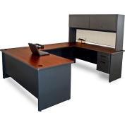 "Pronto U-Shaped Desk with Flipper Door Unit, 8'6""W x 102""D Dark Neutral/Chalk"