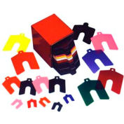 """1"""" x 1"""" x 0.030"""" Coral, Plastic Color Coded Slotted Shim (Pack of 20) - Made In USA"""
