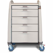 Capsa Healthcare Avalo® Treatment Cart, 5 Drawers, Core Lock, 2 Handles, Light Crème