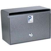 "Protex Wall Mounted Depository Drop Box  SDB-200 with Tubular Lock - 5""W x 10""D x 6-3/4""H, Gray"