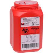 Post Medical 1 Quart Leak-tight Sharps Container with Locking Screw Cap, Red, 24/CS