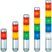 Patlite MPS-102-R Continuous Light, 45mm, NPN & PNP Compatible, Red Light, Silver, AC/DC24V