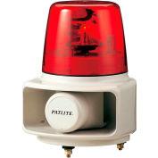 Patlite RT-120E-R+FC015 Smart Alert Plus Rotating Beacon & Horn W/32 Sounds, Red Light, AC120V