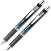 Pentel® EnerGel Retractable Gel Pen, Refillable, Metal Tip, 0.7mm, Black Ink, 2/Set