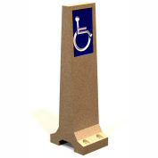 "Petersen Manufacturing HCB-1 Handicap Marker Concrete Bollard, "" Dia X 48"" H, Type A Mount, Tan"