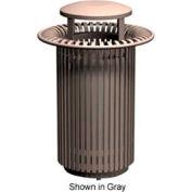 Breckenridge Series 32 Gal. Metal Waste Receptacle w/ Dome Top - Bronze