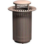 Breckenridge Series 32 Gal. Metal Waste Receptacle w/ Dome Top - Gray
